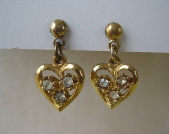 Golden Hearts with Twinkle - earrings