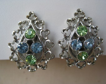 Green Blue Silver Drop - earrings