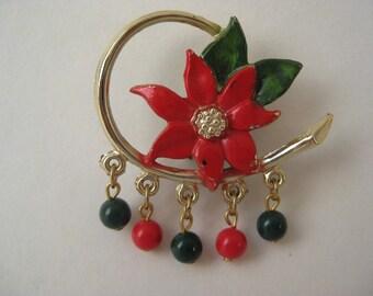 Poinsettia Dangle - brooch