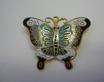 Blue and White Butterfly - brooch