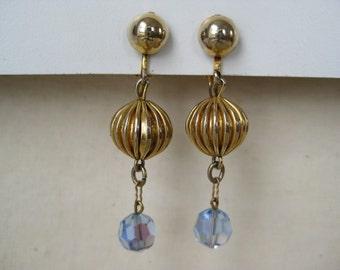 Golden Blue Dangle - earrings