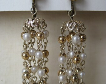 Golden Pearl Dangle - earrings