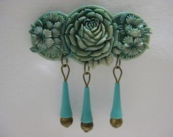 Pretty Aqua Floral Dangle - brooch