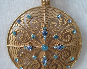 Blue Gold Necklace Rhinestones Pendant