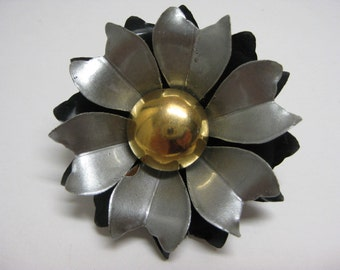 Silver Gold Black Flower - vintage brooch