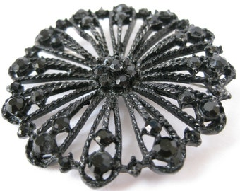 Black Filigree Flower - vintage brooch