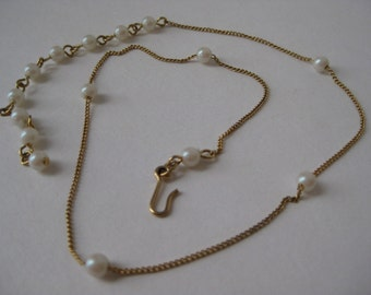 Little Gold with Pearl Choker - vintage necklace