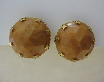 Pumpkin Faceted - vintage earrings