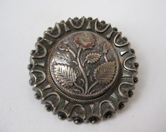 Round Silver Fancy Rose - vintage brooch