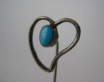 Silver and Turquoise Heart - vintage stick pin