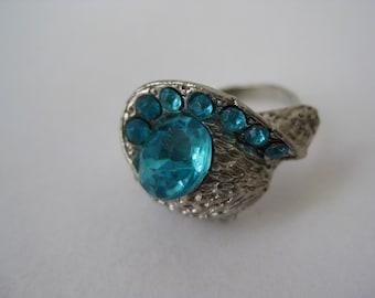 Aqua Blue Twinkle Texture - vintage ring - adjustable