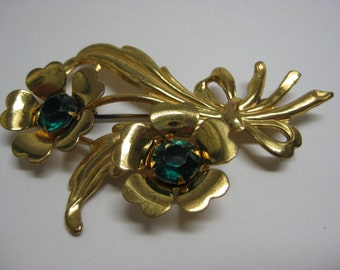 Golden and Green Two Flower - vintage brooch