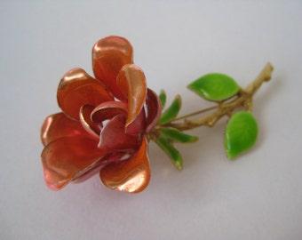 Pretty Orange Pink Rose - vintage brooch