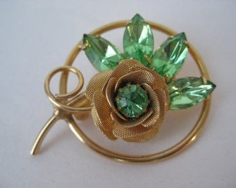 Bright Green Twinkle Golden Rose - vintage brooch