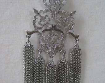 Beautiful Silver Filigree Chain Dangle - vintage necklace
