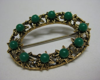 Oval of Gold and Green Flowers - vintage brooch