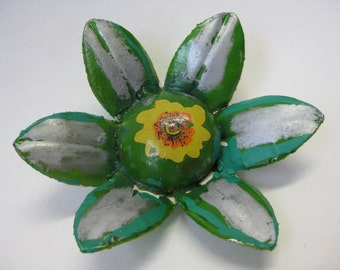 Silver and Green Shabby Flower - vintage brooch