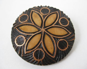 Wood with Copper Flower - vintage brooch