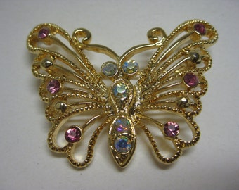 Golden Butterfly with Pink and AB Twinkle - vintage brooch