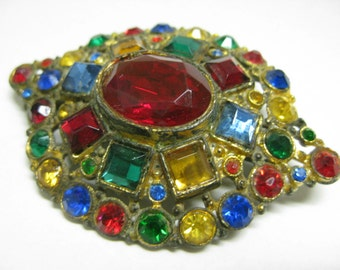 Shabby Colorful Chunky Twinkle - vintage brooch