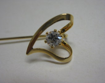 Gold Heart with Twinkle - vintage stick pin