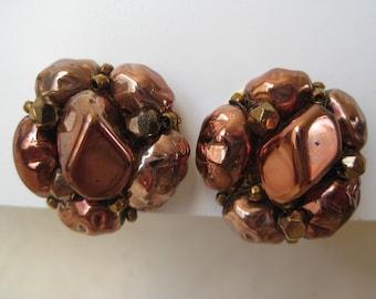 Copper Cluster - vintage earrings