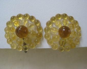 Clear Amber Flower - vintage earrings