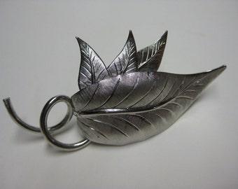 Brooch Silver Leaves