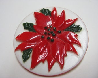 Poinsettia Brooch Red White Plastic