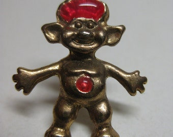 Troll Gold Pink Tie Tack Pin