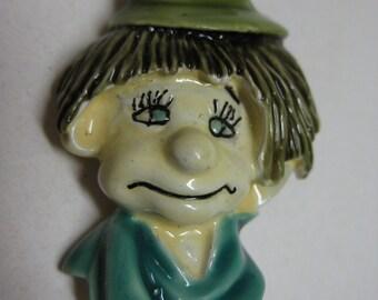 HAR Boy Green Hat Brooch Enamel