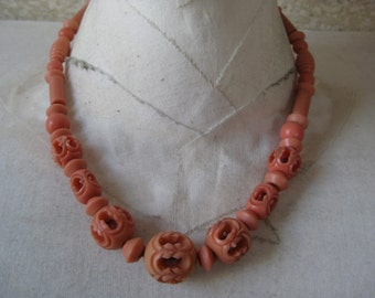 Coral Orange Necklace Plastic
