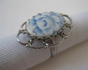 Blue Rose Ring Silver Flower Porcelain Adjustable