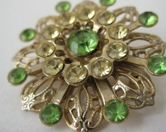 Flower Brooch Green Filigree Gold Rhinestone Vintage Pin