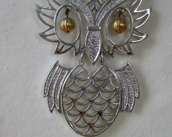 Owl Chunky Necklace Silver Vintage Bird Pendant