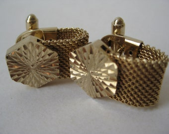 Gold Hexagon Cuff Links Vintage