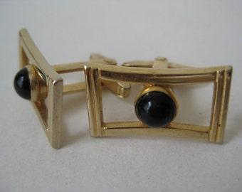 Gold Black Cuff Links Cab Modern Vintage