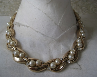 Gold Pearl Necklace Choker Rhinestone Vintage
