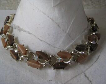 Brown Gold Necklace Choker Aurora Borealis Thermoset Vintage