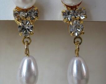 Pearl Rhinestone Earrings Gold Dangle Vintage