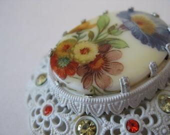 Flower Filigree Colorful Necklace Rhinestone Vintage Pendant