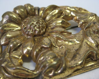 Shabby Flower Gold Brooch Sunflower Vintage PIn