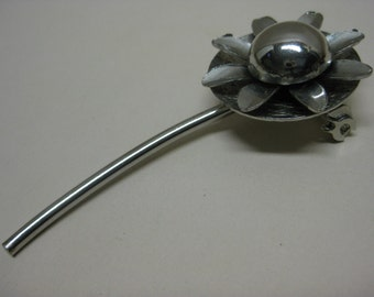 Cool Silver Flower - brooch