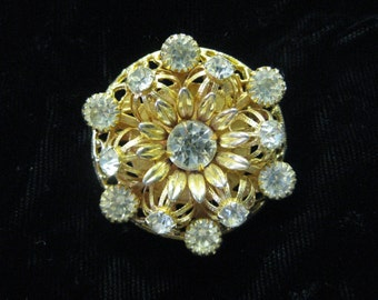 Golden Flower Sparkle - brooch