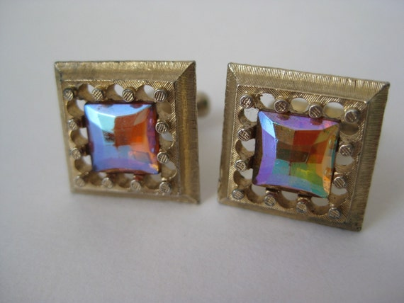 Colorful Golden Square - cuff links