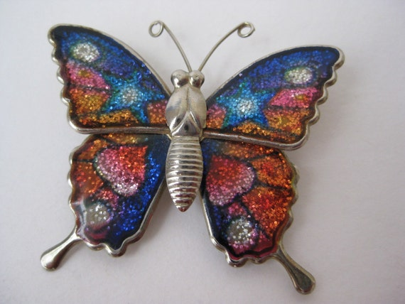 Blue Star Colorful Glitter Butterfly - vintage brooch