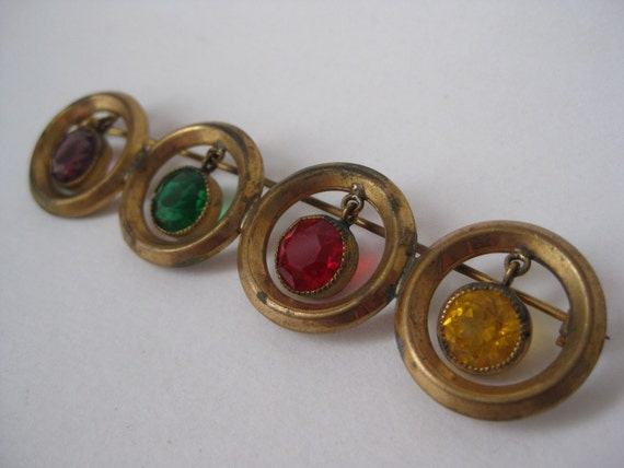 Colorful Circle Dangle - vintage brooch