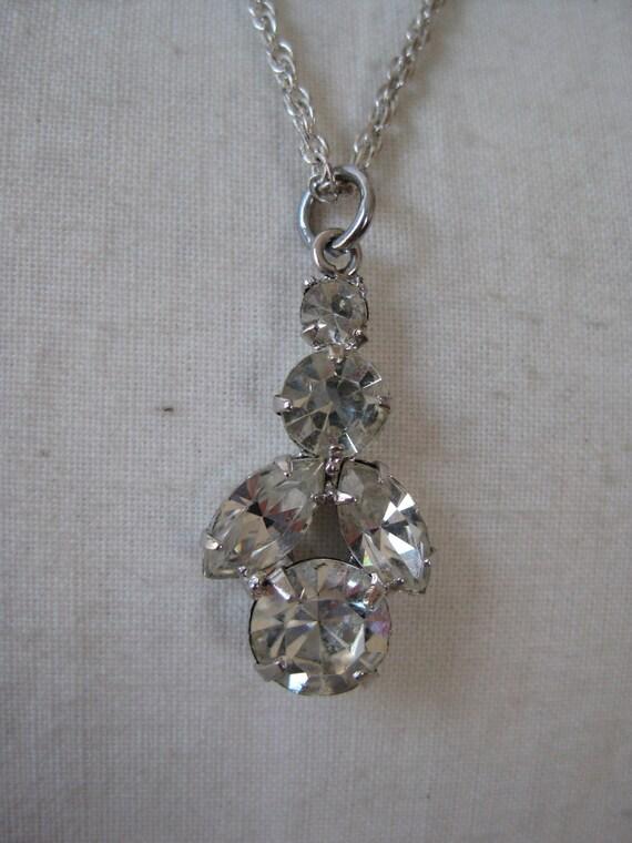 Rhinestones Necklace Clear Silver Pendant
