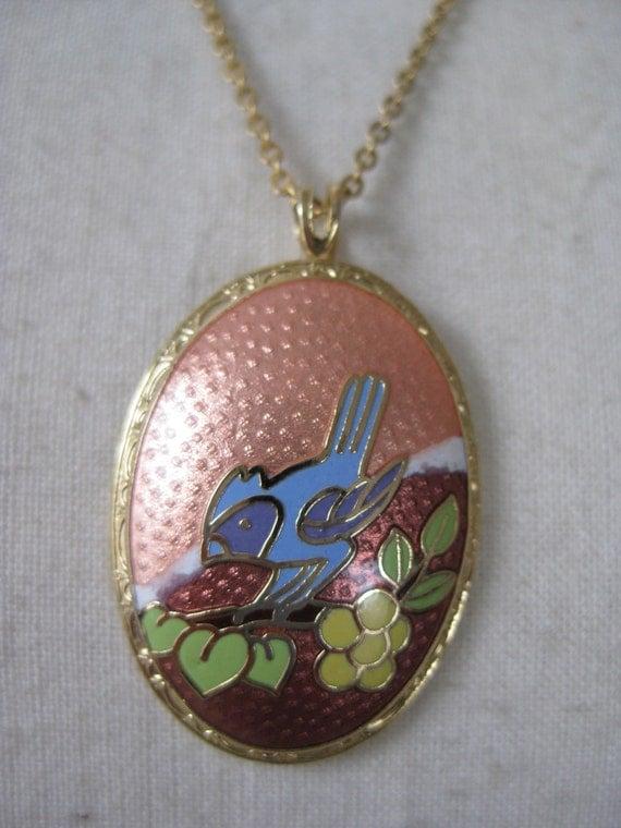 Blue Jay Bird Necklace Enamel Orange Flower Gold Pendant