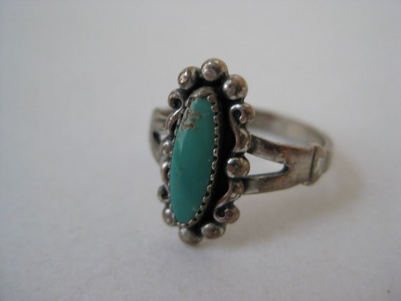 Turquoise Sterling Silver Ring Southwest Vintage 925 Size 6 1/4